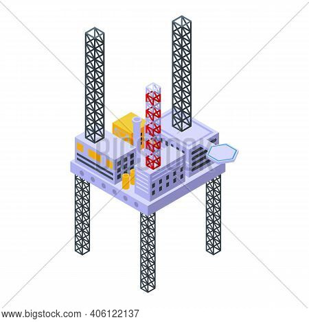 Sea Drilling Rig Platform Icon. Isometric Of Sea Drilling Rig Platform Vector Icon For Web Design Is
