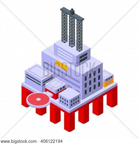 Sea Drilling Rig Factory Icon. Isometric Of Sea Drilling Rig Factory Vector Icon For Web Design Isol