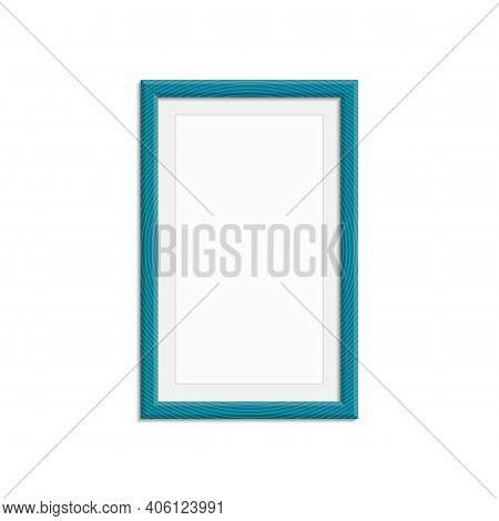 Realistic Photo Frame Template Isolated On White Background. Blue Blank Picture Frames For A4 Image