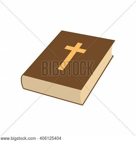 Bible Book Icon. Christian Cross Icon. Religion Book Icon. Vector Illustration. Christian Church Boo