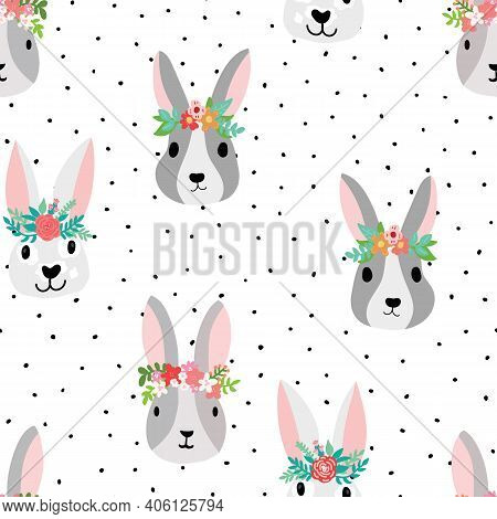 Cute Bunny Seamless Vector Pattern With Bunny Heads Wearing Flower Crowns. Sweet Hand Drawn Nursery