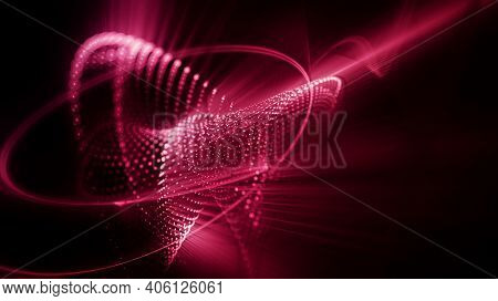 Abstract red and black background. Fractal graphics 3d illustration.