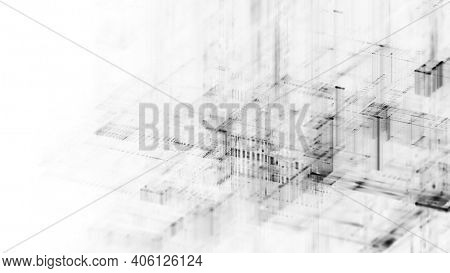Abstract black and white background. Fractal graphics 3d illustration. Science or technology concept.