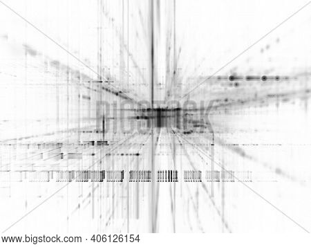 Abstract black and white background element. Fractal graphics 3d illustration. Science or technology concept.