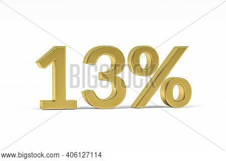 Gold Digit Thirteen With Percent Sign - 13% Isolated On White - 3d Render