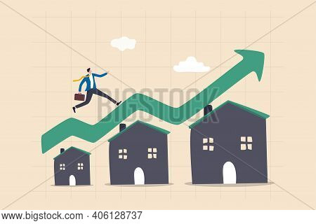 Housing Price Rising Up, Real Estate Or Property Growth Concept, Businessman Running On Rising Green