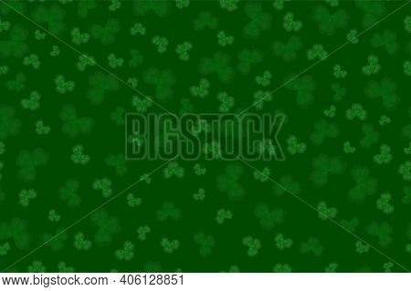 Seamless Clover Pattern On The Green Background. Green Clover Texture For Happy Saint Patrick's Day.