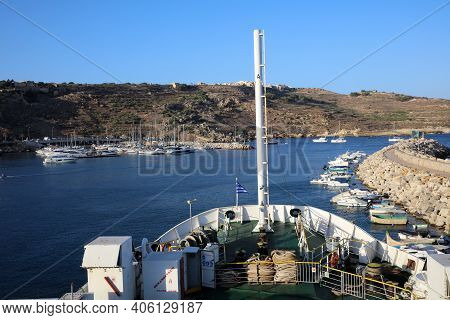 Mgarr, Malta - August 15, 2019: View To Mgarr From The Car Ferry Between Malta And Gozo