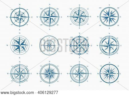 Sea Wind Rose Set. Blue Ink Cartography With Orientation Parts Of World Nautical Vintage Star For To