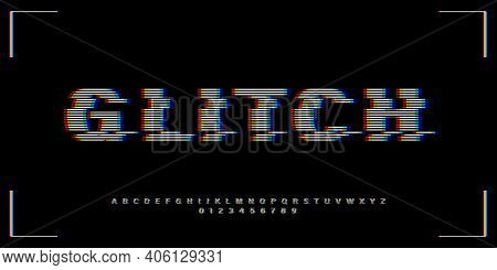 Vhs Glitch Font In Retro Style. English Letters, Numbers With Distortion Effect. Good For Design Pro