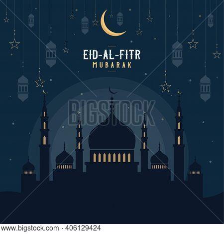Abstract Religious Happy Eid Al Fitr Mubarak Islamic Vector Illustration With Mosques, Lights, Moon,