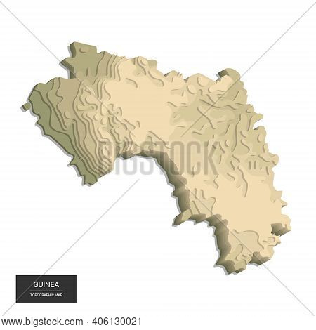 Guinea Map - 3d Digital High-altitude Topographic Map. 3d Vector Illustration. Colored Relief, Rugge