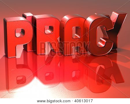 3D Word Piracy On Red Background