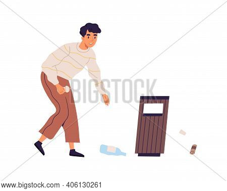 Scene With Young Man Collecting Rubbish To Throw It Into Trash Can. Guy Cleaning Street By Picking U