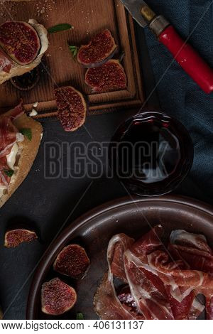 Wine And Tapas With Ham, Close Up