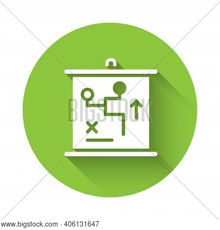 White Planning Strategy Concept Icon Isolated With Long Shadow. Cup Formation And Tactic. Green Circ