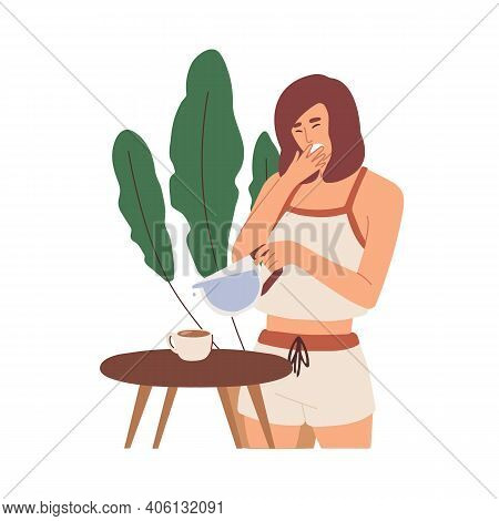 Sleepy Young Woman In Pyjamas Yawning And Making Invigorating Hot Coffee To Wake Up In Early Morning