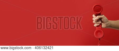 Hotline Service. Woman With Telephone Receiver And Space For Text On Red Background, Banner Design