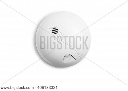 Smoke Detector Isolated On A White Background. Home Security