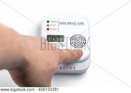 Testing Carbon Monoxide Detector. Co Detector. Safety At Home