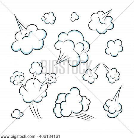 Smelling Pop Art Comic Book Cartoon Fart Cloud Flat Style Design Vector Illustration Set. Bad Stink
