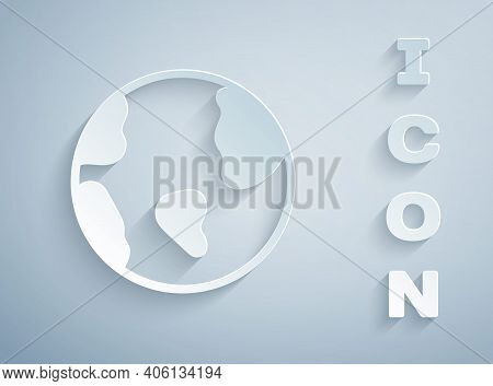 Paper Cut Earth Globe Icon Isolated On Grey Background. World Or Earth Sign. Global Internet Symbol.