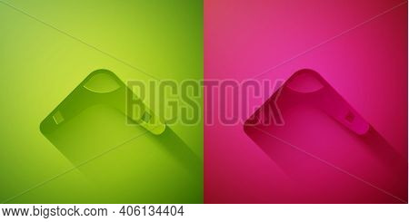 Paper Cut Boomerang Icon Isolated On Green And Pink Background. Paper Art Style. Vector