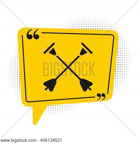 Black Arrow With Sucker Tip Icon Isolated On White Background. Yellow Speech Bubble Symbol. Vector