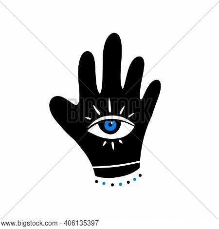 Decorated Hand With Eye Symbol Vector Icon, Illustration. Intuition And Spirituality Concept.