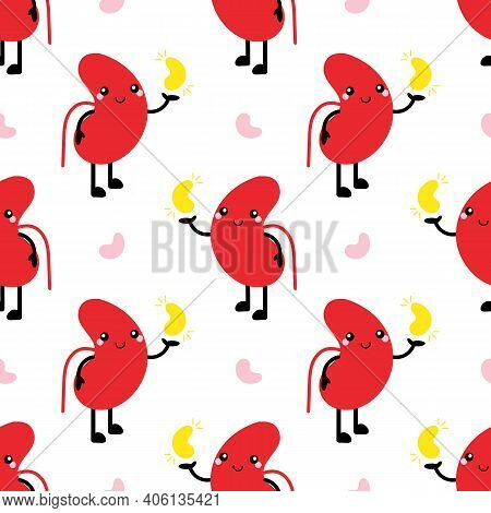 World Kidney Day Vector Seamless Pattern Background With  Kidney Character Holding Symbolical Golden