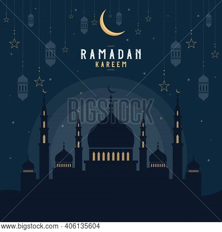 Beautiful Holy Festival Ramadan Kareem Celebration With Mosque, Moon, Star, And Lamp. Mosque Silhoue