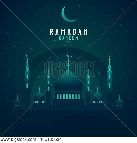 Beautiful Holy Festival Ramadan Kareem Celebration With Mosque, Moon And Star. Mosque Silhouette In