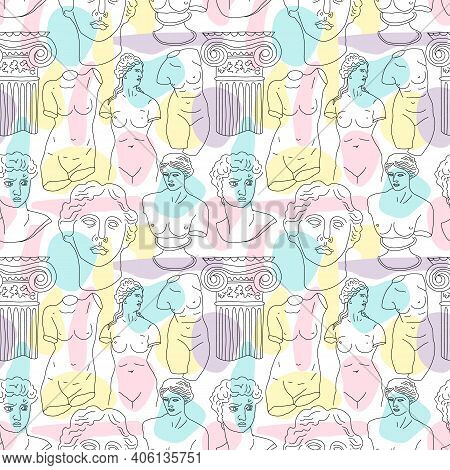 Ancient Greece And Rome Set Tradition And Culture Vector Seamless Pattern. The Linear Trend Of The A