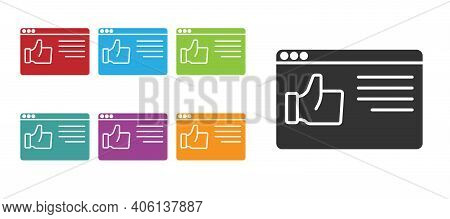 Black Browser Window Icon Isolated On White Background. Set Icons Colorful. Vector