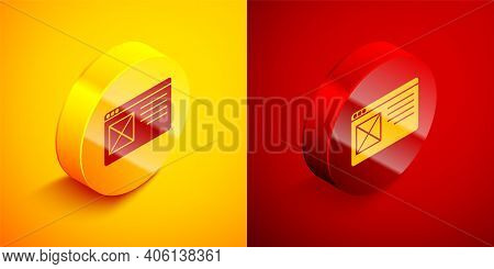 Isometric Browser Window Icon Isolated On Orange And Red Background. Circle Button. Vector
