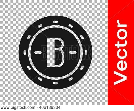 Black Cryptocurrency Coin Bitcoin Icon Isolated On Transparent Background. Physical Bit Coin. Blockc