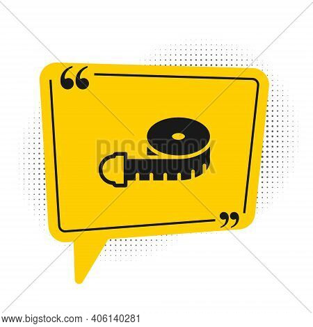 Black Tape Measure Icon Isolated On White Background. Measuring Tape. Yellow Speech Bubble Symbol. V