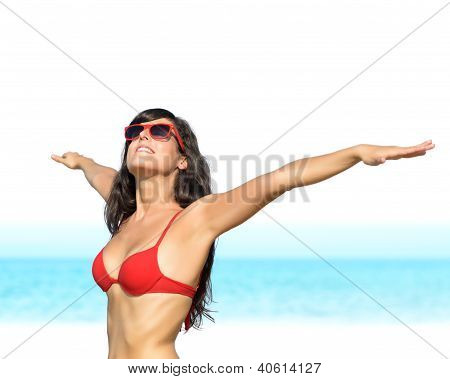 Enjoying Sun And Freedom In Beach Summer Vacations Isolated