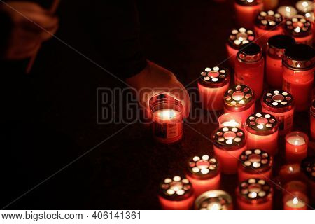 Bucharest, Romania - January 29, 2021: Details With Burning Candles Laid By People On The Site Of Ma