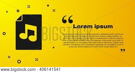 Black Music Book With Note Icon Isolated On Yellow Background. Music Sheet With Note Stave. Notebook