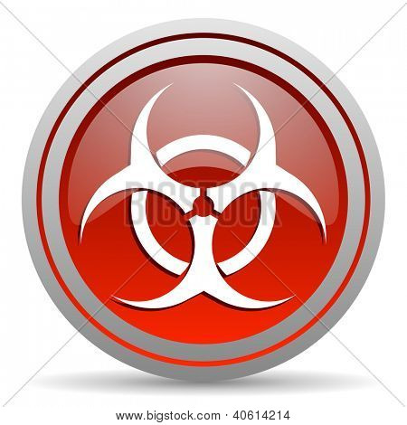 virus red glossy icon on white background poster