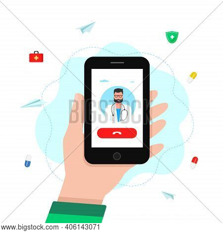 Medical Consultation By Internet With Doctor. Vector. House Call. A Person Talking With A Doctor On