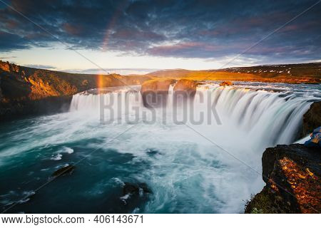 Captivating view of the grand Godafoss waterfall. Location place Skjalfandafljot river, Iceland, Europe. Long exposure shot. Image of most popular world landmarks. Discover the world of beauty.