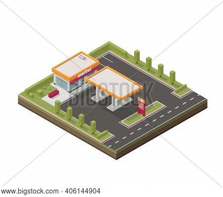 Vector Isometric Illustration Representing Low Poly Gas Station. Petroleum Filling Station. Fuel. Is
