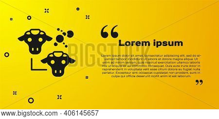 Black Cloning Icon Isolated On Yellow Background. Genetic Engineering Concept. Vector