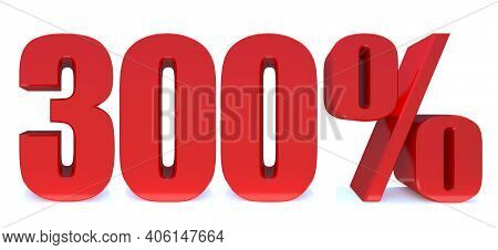300 Percent Off 3d Sign On White Background, Special Offer 300% Discount Tag, Sale Up To 300 Percent