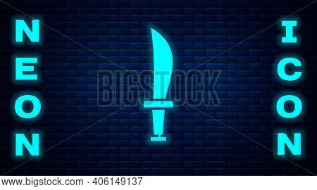 Glowing Neon Pirate Sword Icon Isolated On Brick Wall Background. Sabre Sign. Vector