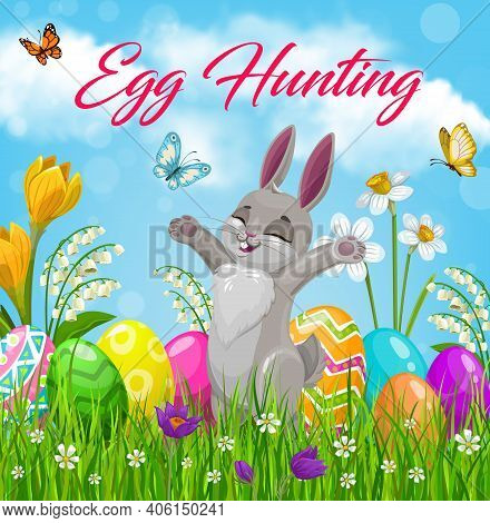 Easter Egg Hunt Vector Design With Bunny And Easter Eggs On Spring Green Grass Field With Blooming F