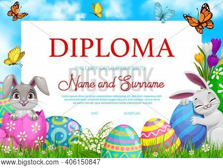 Education School Diploma With Vector Easter Rabbits, Painted Eggs And Flowers On Green Spring Meadow