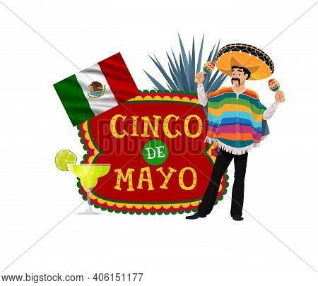 Cinco De Mayo Vector Icon With Mexican Musician. Mexico Holiday Label With Music Player Cartoon Char